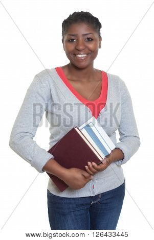 Laughing african american student with books on an isolated white background for cut out