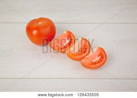 Picture of chopped healthy juicy red tomatoes