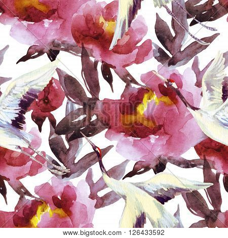 Peony and crane bird seamless pattern. Peonies and crane birds on white background. Hand painted watercolor illustration in asian style