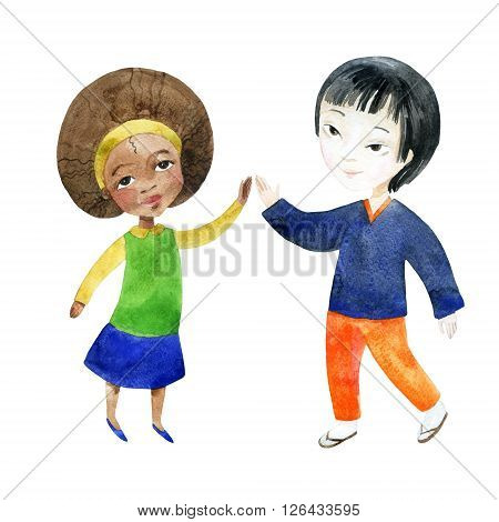 Watercolor children. A boy with a girl holding hands isolated on white background. Happy Friendship day background. Hand painted illustration