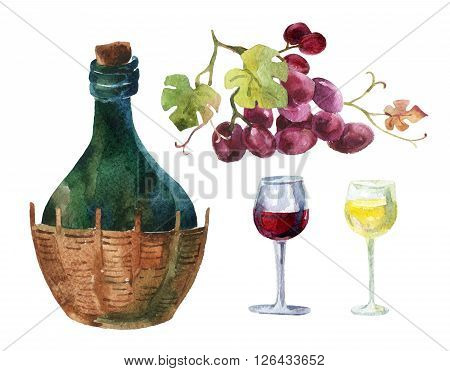 Bottle of wine, wineglass and bunch of grapes set isolated on white background. Hand painted illustration