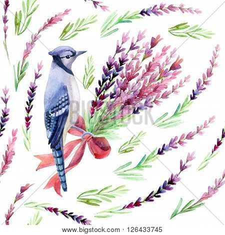Blue jay with lavender seamless pattern on a white background. Hand painted watercolor illustration.