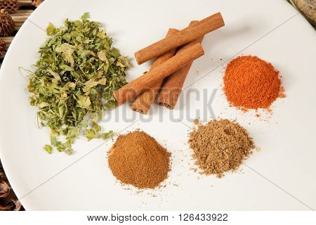 Plate with different spices on the table