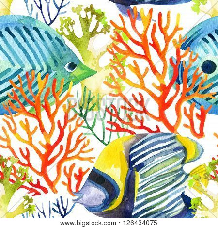 corals and fishes seamless pattern. Watercolor background