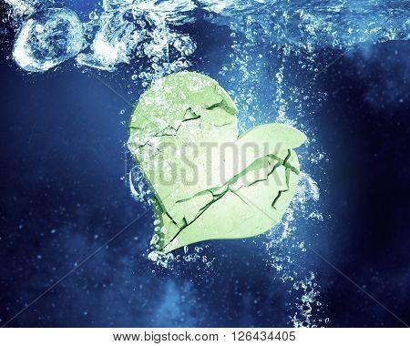 Heart dissolve under water