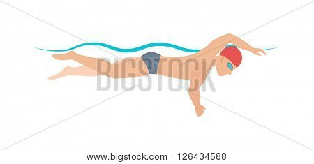 Dynamic and fit swimmer in cap breathing performing butterfly stroke pool sport vector illustration.