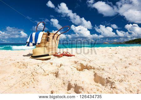 Beautiful beach with bag at Seychelles, La Digue
