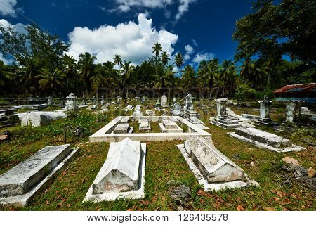 Old cemetery at Seychelles on La Digue island