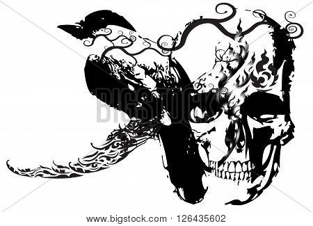 skull and bird design and line Thai