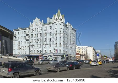 MOSCOW, RUSSIA - MARCH 28, 2016: Streets of Moscow. View of the former apartment house A.D.Chernyatina 1912-1914 year six-story Shchepkin Street Home 47 Building 1