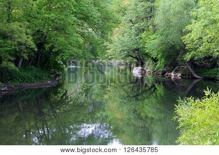 Reflection of the trees in the Yantra river in Bulgaria