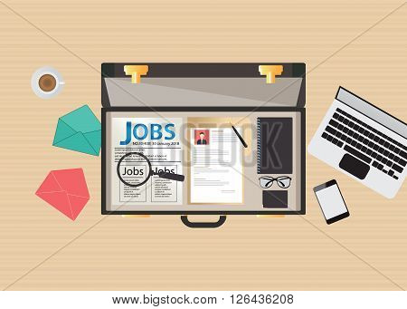 Job search icon design open suitcase with Job search laptop glasses smartphone Magnifying glass and cup of coffee conceptual vector illustration.