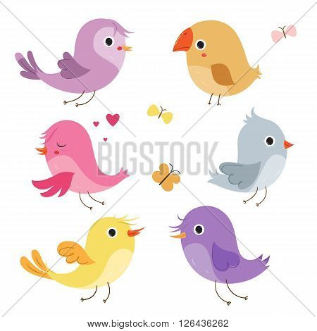 Cute birds isolated on white background. Cartoon set. Vector cartoon characters.