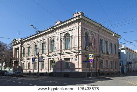 MOSCOW, RUSSIA - APRIL 12, 2016: Residential building A.I. Matveeva XIX century on the basis of the chambers of the XVII century the object of cultural heritage area of Khamovniki Prechistenka Street house 14/1 building