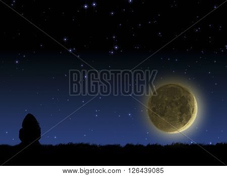 Girl watching the stars and Moon on a dark sky.