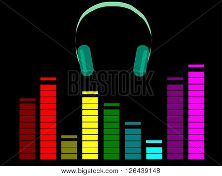 Icon of headphones with colored equalizer on black