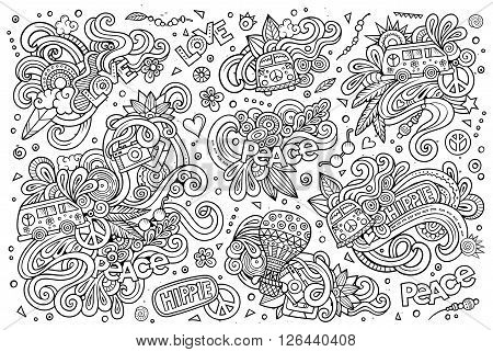 Line art vector hand drawn Doodle cartoon set of hippie objects and symbols