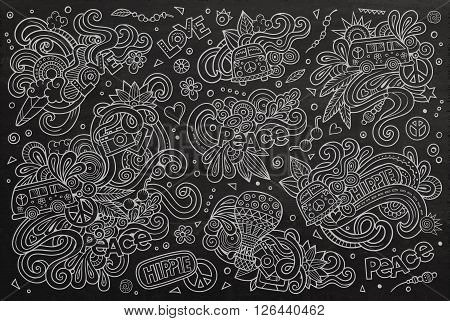Chalkboard vector hand drawn Doodle cartoon set of hippie objects and symbols