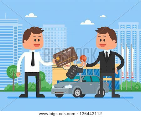 Car sale vector illustration. Customer buying automobile from dealer concept. Salesman giving key to new owner.