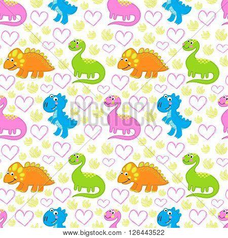 Dinosaur   bright vector seamless pattern. Dinosaur vector background. Childish vector design.