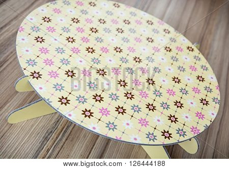 Beauty abstract pattern themed round tray on the wooden background. Decor theme.