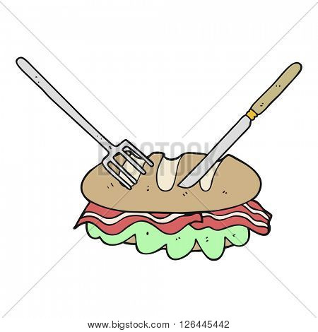 freehand drawn cartoon knife and fork cutting huge sandwich