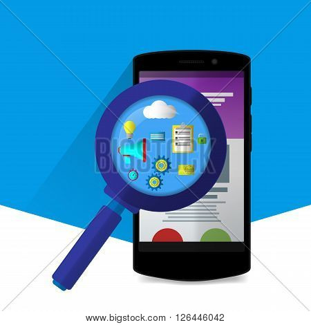 Flat Magnifier With Seo Icons. Web Sites And Applications. Flat Phone. Material Design Icons