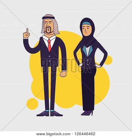 Vector illustration of the arabic business team. Couple of the arabic businessman and businesswoman wearing hijab. Linear flat design