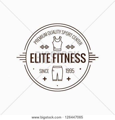 Fitness badge outline vector illustration. Fitness badge  icon  isolated. Fitness badge logo symbol. Fitness badge logo for sport design. Training concept fitness badge isolated logo