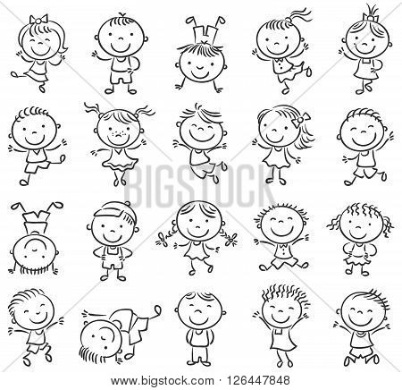 Twenty sketchy happy kids jumping with joy black and white outline