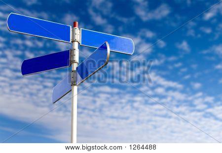 Emtpy Street Sign Over A Blue Sky