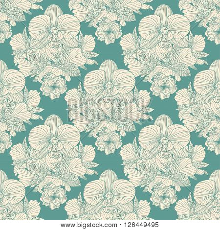 Seamless retro flower repeating pattern on teal background