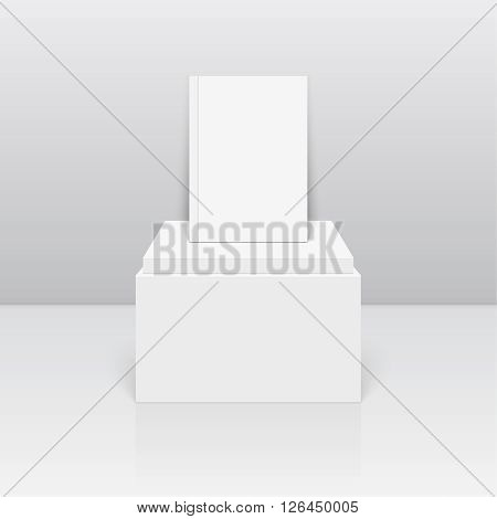 Empty blank on column podium. Vector pillar pedestal. Magazine, book, brochure, flyer, a4 letterhead, folder, leaflet, booklet.