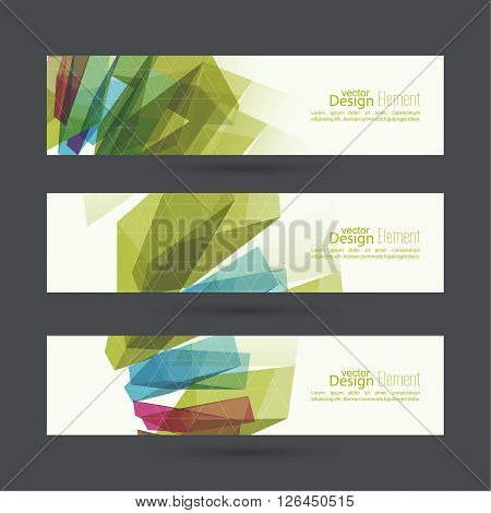 Set of abstract banners. header. Colored crystals, trellis structure. For web, mobile app, annual report.