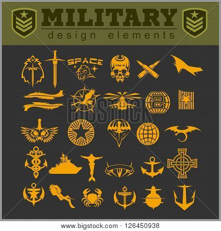 Special forces patch set isolated on dark background.