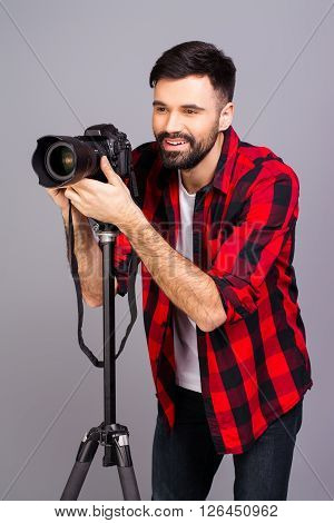 Young Professional Photographer With Digital Camera  Taking Photos