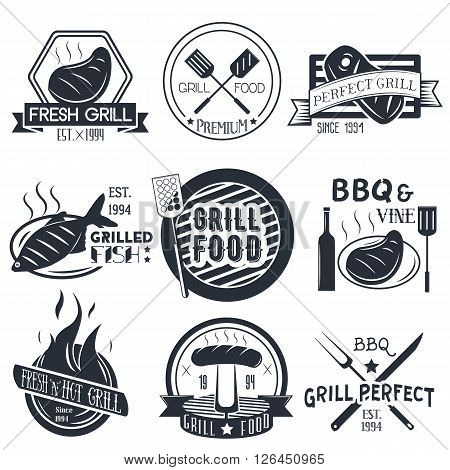 Vector set of grill and bbq labels in vintage style. Design elements, icons, logo, emblems and badges isolated on white background. Fish, steak and burgers barbecue.