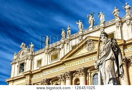 Statue of St. Paul near the Basilica in Vatican - Rome