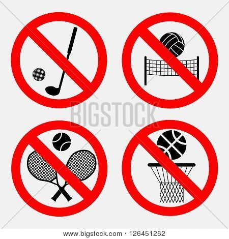 set of signs prohibiting games, basketball games there, no playing volleyball, there is a great tennis game, no game of golf, fully editable vector image
