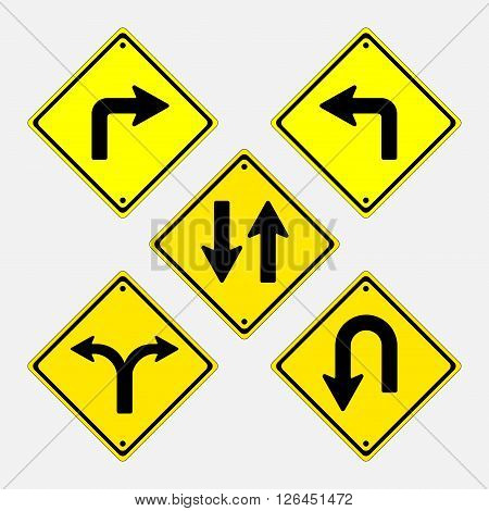 Vector signs, installation of signs directing traffic to pravelno, fully editable vector image