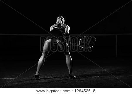 Woman Playing Tennis Waiting Tennis Ball