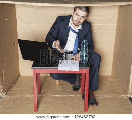 Businessman Celebrating A New Contract A Glass Of Alcohol