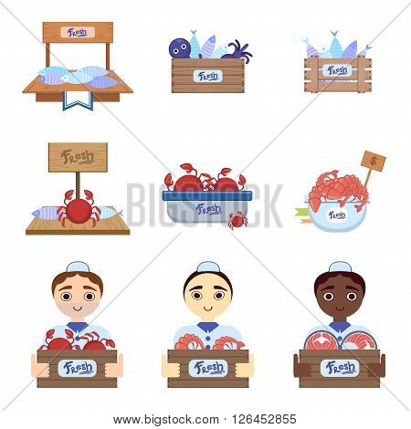 Fish Market  With Male Vendors Flat Simlified Design Vector Set Of Isolated Icons On White Background