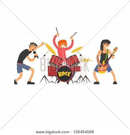 Rock Band Vector Illustration In Primitive Cartoon Childish Style Isolated On White Background