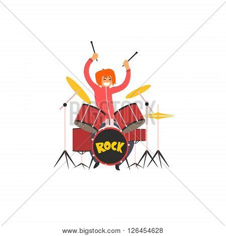 Girl Drummer Vector Illustration In Primitive Cartoon Childish Style Isolated On White Background