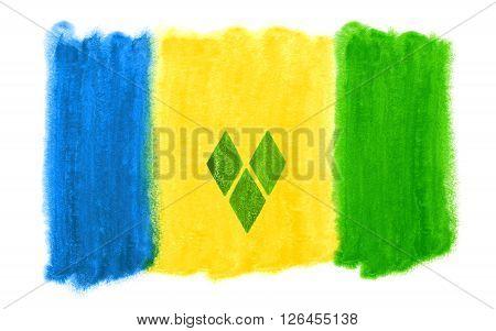 watercolor illustration of the saint vincent flag