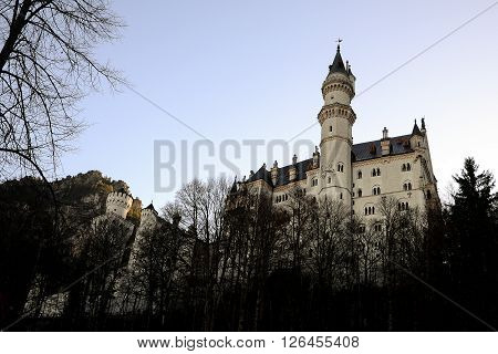 Neuschwanstein Castle in early winter famous palace in Fussen Germany