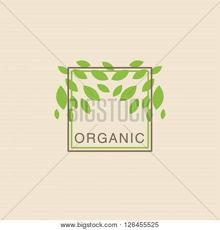 Double Frame With Leaves From Above Organic Product Logo Cool Flat Vector Design Template On White Backgeound