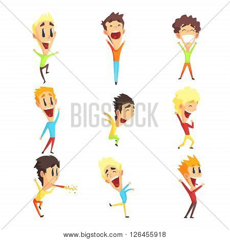 Caucasian Male Character Rejoicing Set Of Primitive Geometric Design Flat Isolated Vector Images