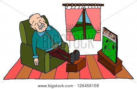 Cute grandpa sleeping on sofa with football on TV